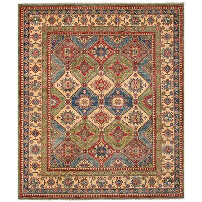 One-of-a-Kind Holford Hand-Woven Wool Cream/Dark Blue Area Rug