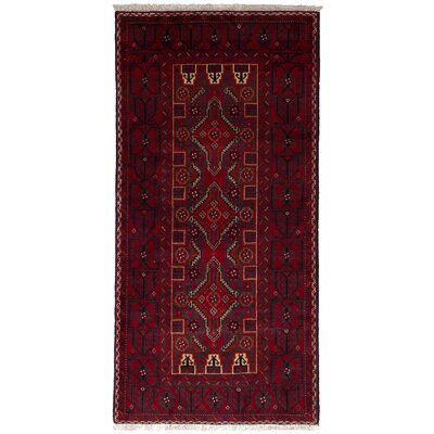 One-of-a-Kind Whitcher Finest Baluch Hand-Woven Wool Red Area Rug