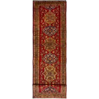 One-of-a-Kind Whitely Ardabil Hand-Woven Wool Red Area Rug