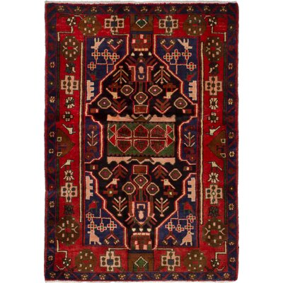 One-of-a-Kind Whiten Nahavand Hand-Woven Wool Dark Navy/Red Area Rug