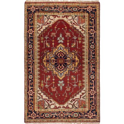 One-of-a-Kind Holcombe Hand-Woven Wool Dark Red Area Rug