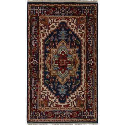 One-of-a-Kind Holcombe Hand-Woven Wool Dark Navy/Red Area Rug