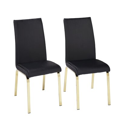Leia Upholstered Dining Chair Upholstery Color: Black