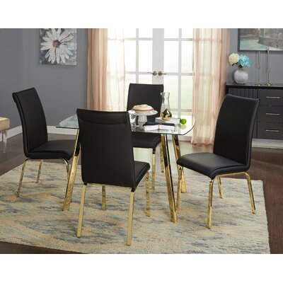 Leia 5 Piece Dining Set Chair Color: Black
