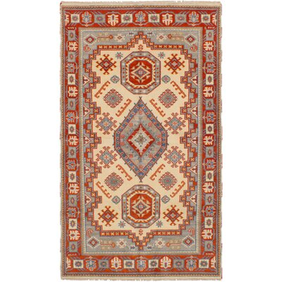 One-of-a-Kind Olden Hand-Woven Wool Cream/Red Area Rug