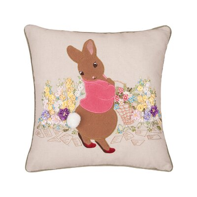 Gutman Garden Bunny Ribbon Art Throw Pillow