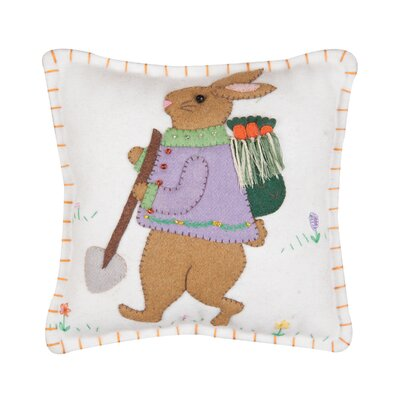 Hallinan Square Garden Bunny Throw Pillow