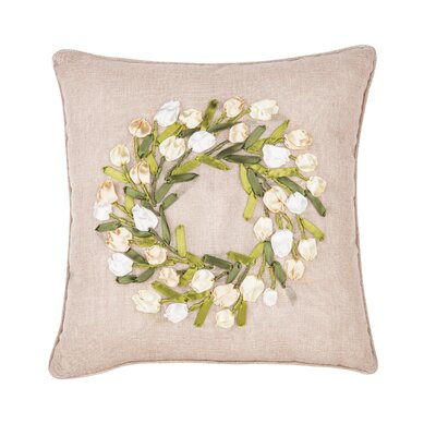 Gutowski Tulip Wreath Ribbon Art Throw Pillow