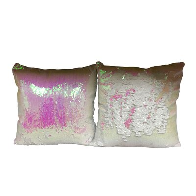Heslin Sequin Rainbow Linen Throw Pillow Color: White