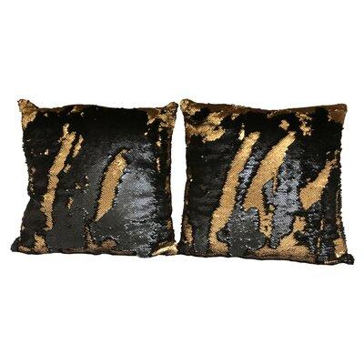 Heslin Sequin Rainbow Linen Throw Pillow Color: Gold