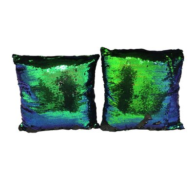 Heslin Sequin Rainbow Linen Throw Pillow Color: Green