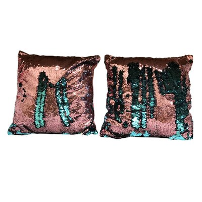Heslin Sequin Rainbow Linen Throw Pillow Color: Pink