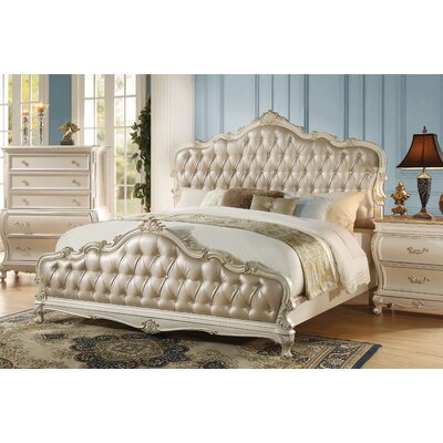 Rikard Traditional French Style Upholstered Panel Bed Color: Pearl White, Size: Queen