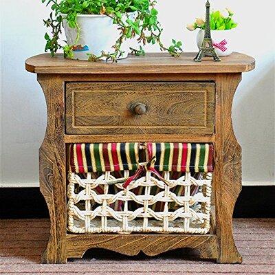 Steinberg Classic Countryside Wood Storage 1 Drawer Nightstand