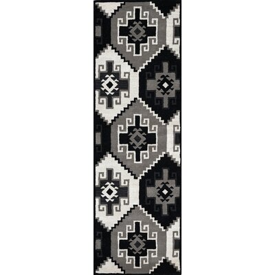 Manwaring Hand-Tufted Wool Black Area Rug Rug Size: Runner 26 x 8