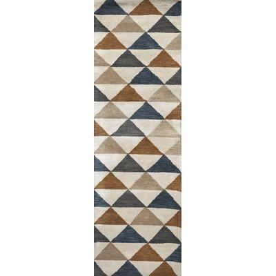 Hargis Hand-Tufted Wool Beige/Navy Area Rug Rug Size: Runner 26 x 8