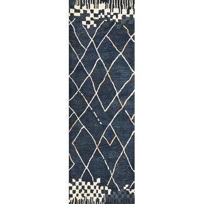 Hargis Hand-Tufted Wool Navy Area Rug Rug Size: Runner 26 x 8