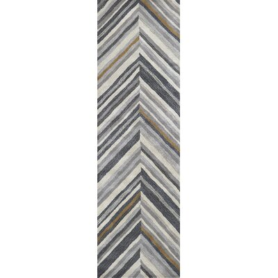 Manwaring Hand-Tufted Wool Gray Area Rug Rug Size: Runner 26 x 8