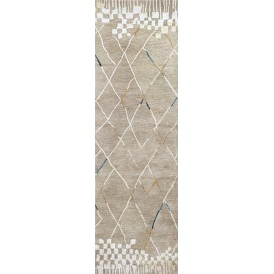 Hargis Hand-Tufted Wool Natural Area Rug Rug Size: Runner 26 x 8