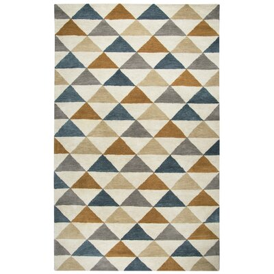 Hargis Hand-Tufted Wool Beige/Navy Area Rug Rug Size: Rectangle 5 x 8
