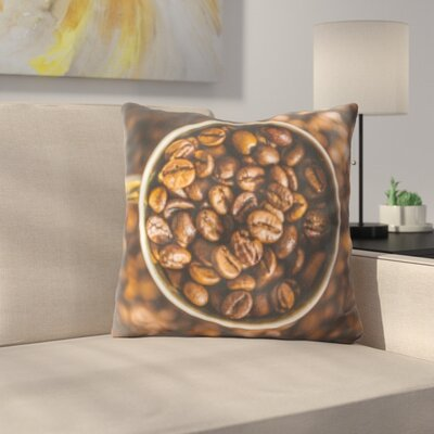 Krumm Cup Full of Coffee Beans Throw Pillow