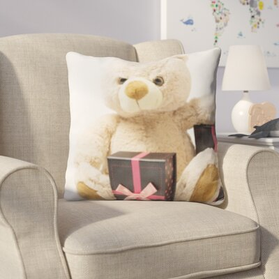 Hicks Teddy Bear Next To Gifts Throw Pillow