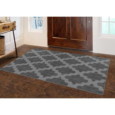 Flanary Ikat Moroccan Trellis, Lattice Gray Area Rug Rug Size: Rectangle 34 x 5