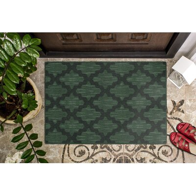 Flannery Ikat Moroccan Trellis, Lattice Green Area Rug Rug Size: Rectangle 5 x 8