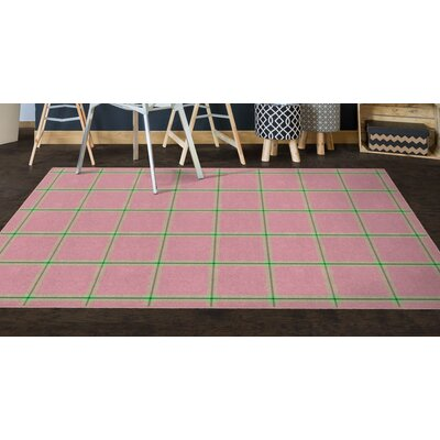 Simple Pink Plaid, Traditional Pink Area Rug Rug Size: Rectangle 26 x 310