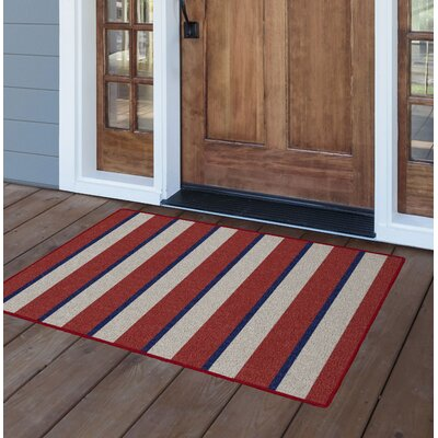Eliason Wide Nautical Stripe Red/Beige Area Rug Rug Size: Rectangle 5 x 8