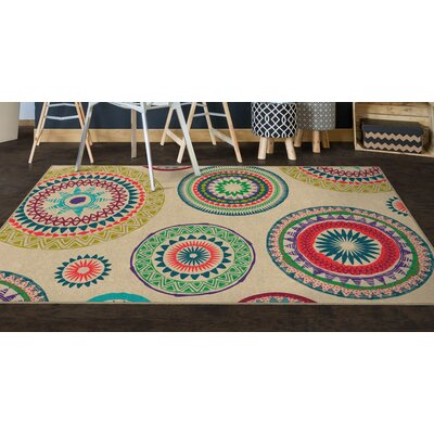 Fiesta Medallions Beige Area Rug Rug Size: Rectangle 5 x 8
