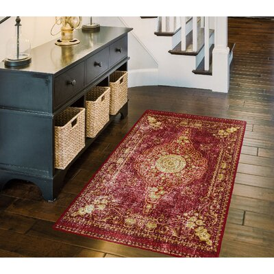 Parkhurst Distressed Persian, Traditional Vintage Oriental Red Area Rug Rug Size: Rectangle 34 x 5