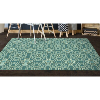 Fortner Teal, Geometric Teal Area Rug Rug Size: Rectangle 34 x 5