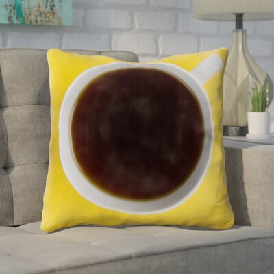 Gruver Cup of Coffee on Yellow Background Throw Pillow