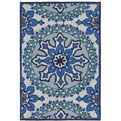 Petterson Moroccan Medallion Hand-Woven Blue Indoor/Outdoor Area Rug Rug Size: Rectangle 17 x 25