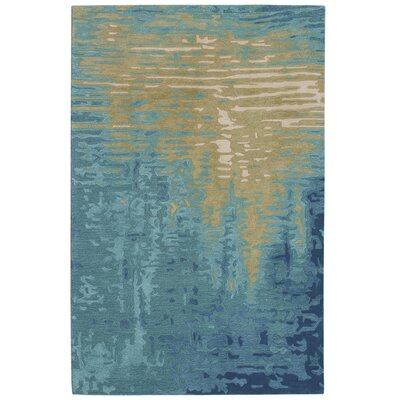 Groce Reflection Hand-Woven Wool Blue/Beige Area Rug Rug Size: Rectangle 5 X 75