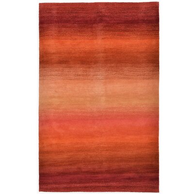 Belding Stripes Hand-Woven Wool Red/Orange Area Rug Rug Size: Rectangle 83 x 115
