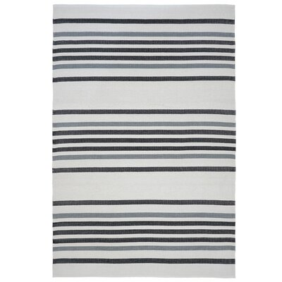 Hunnicutt Stripe Black/Gray Indoor/Outdoor Area Rug Rug Size: Rectangle 35 x 55
