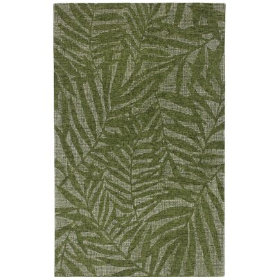 Claremont Olive Branches Hand-Woven Wool Green Area Rug Rug Size: Rectangle 35 x 55