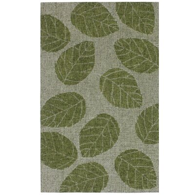 Claremont Leaf Hand-Woven Wool Green Area Rug Rug Size: Rectangle 2 x 3