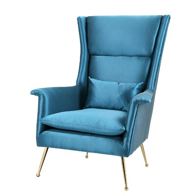 Langsa Wingback Chair Upholstery: Blue
