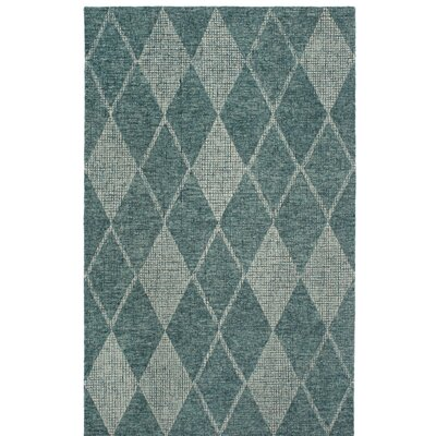 Finkelstein Diamond Hand-Woven Wool Green Area Rug Rug Size: Rectangle 5 X 75