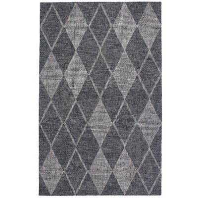Finkelstein Diamond Hand-Woven Wool Gray Area Rug Rug Size: Rectangle 35 x 55