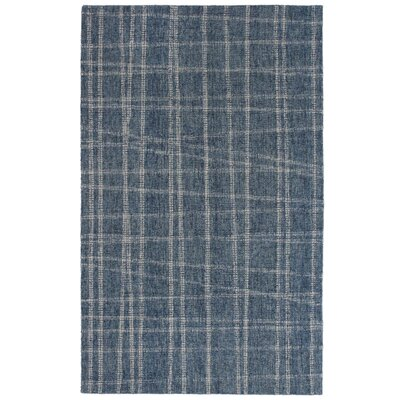 Gritton Plaid Hand-Woven Wool Blue Area Rug Rug Size: Rectangle 35 x 55
