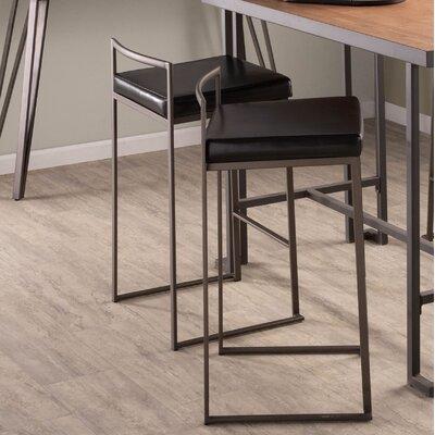 Gary 31 Bar Stool Upholstery: Black