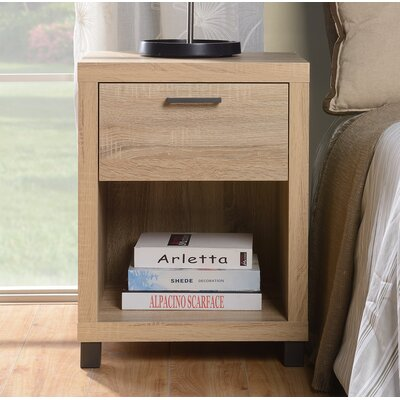 Cowell 1 Drawer Nightstand Color: Natural