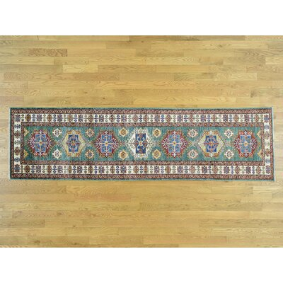 One-of-a-Kind Dorcey Super Kazak Tribal Hand-Knotted Wool Teal Area Rug