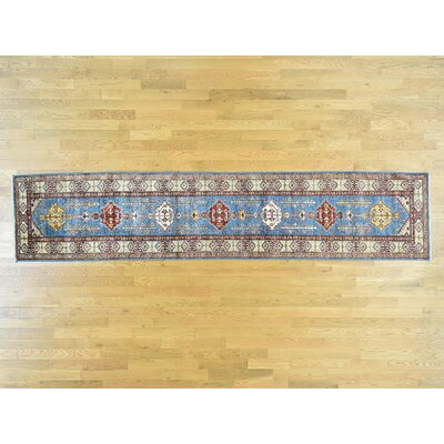 One-of-a-Kind Dorcey Super Kazak Hand-Knotted Wool Blue/Brown Area Rug