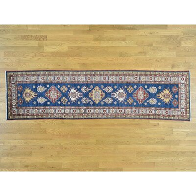 One-of-a-Kind Dorcey Super Kazak Hand-Knotted Wool Blue Area Rug