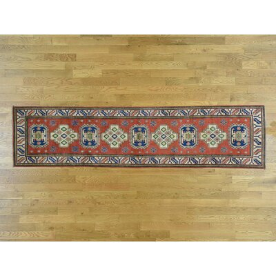 One-of-a-Kind Sanjuana Kazak Tribal Hand-Knotted Wool Red Area Rug